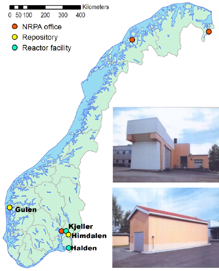 """Fig.1On the left, the map of the main """"workplaces"""" of NRPA. On the right, top, pit storage of spent fuel from JEEP II at Kjeller; bottom, again at Kjeller, spent fuel storage of the two """"retired"""" reactors, JEEP I and NORA. At Halden's site spent fuel is stored in the same reactor building."""