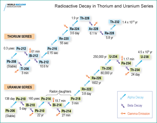 """Fig. 2""""Natural radioisotopes"""". Thorium and Uranium series: starting from Th232 and U238 two distinct decay chains generate in Nature two series of radioactive elements. These radionuclides are concentrated in different ways in the different materials constituting the Earth's crust."""