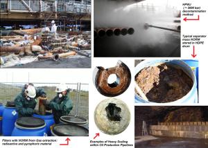 Fig. 4 Qualche altro dettaglio su incrostazioni, fanghi, depositi vari, decontaminazione e smaltimento dei NORM nella filiera Oil&Gas norvegese. Questo tipo di NORM viene spesso denominato dagli addetti del settore Low Specific Activity Scale (abbreviato: LSA Scale).