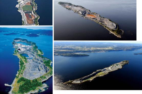 """Fig. 7""""Prima della cura"""". L'isola di Langøya, nel fiordo di Oslo, tra Norvegia e Svezia, misura 3 km in lunghezza e nella parte più larga appena 500 m. Le foto sono scattate in anni diversi, come si può notare da alcuni cambiamenti morfologici. Nonostante l'elevato livello di sfruttamento fauna e flora selvatica perseverano, offrendo concrete speranze per un completo recupero in futuro."""