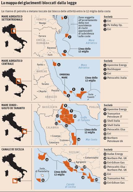 Mappa dei giacimenti interessati dal referendum (fonte Il Sole 24 Ore).