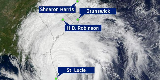 Hurricane Matthew in a snapshot from NASA, with the location of NPP. After [2].