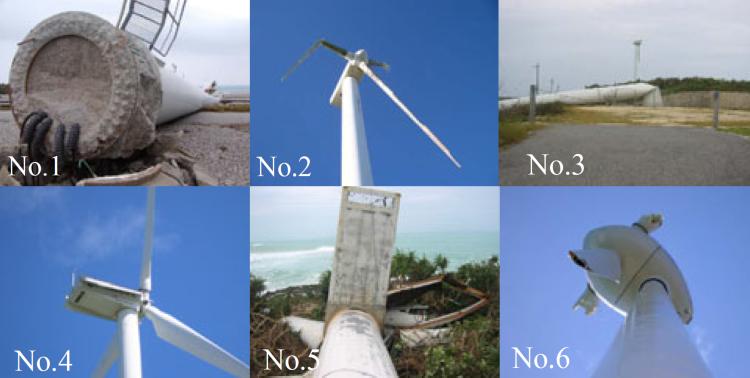 Miyakojima Island 6 turbines wind farm after the passage of typhoon Maemi. Modified after [6].